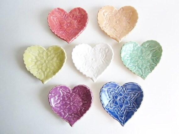 "Wedding favors heart dish, Birthday parties favors, Baby shower Handmade pottery. 3.5"" dish"