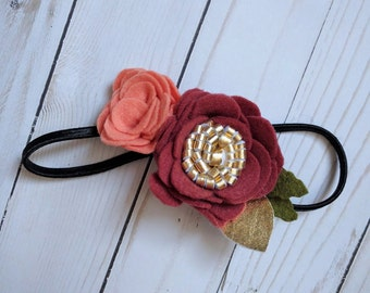 Harvest Flower Headband | Holiday, Gold, Autumn, Fall, Flowers, Accessories, Gift