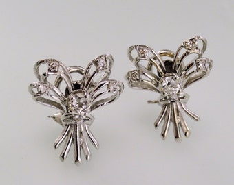 Vintage White Gold and Diamond Lacy Ribbon Earrings, circa 1950, Pierced with Omega Clip Backs (A1778)