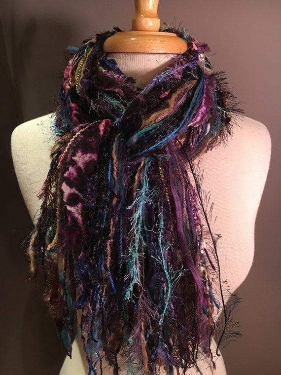 Fringe Scarf, Wonderland Cheetah Fringie,  hand-tied fringe scarf, black brown, blue purple grey, cheetah print scarf, boho