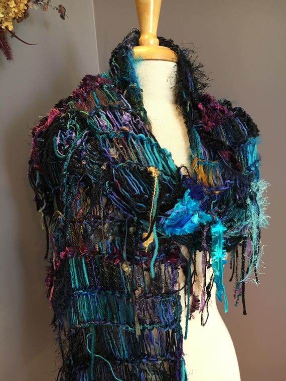 Fringed knit Fashion Shawl or Super Scarf, 'Cool Jewel', Dumpster Diva, Knit Fringed Black Aqua Purple, Scarf, bohemian fashion, tribal
