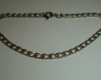 Silver bracelet sterling vintage curb chain light 7 & 1/4 inches long