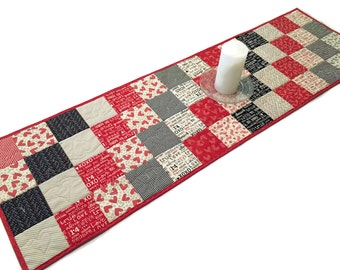 "Quilted Table Runner -  Red, White and Black ""First Crush"" Charm Squares, Valentines Day Table Runner Quilt, Quiltsy Handmade"