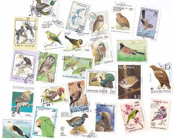 25 x BIRD Postage Stamps, Lot of Mixed Worldwide Stamps, Themed Postage Stamps