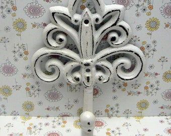 Fleur de lis Cast Iron FDL Shabby Chic White Wall Hook Home Decor