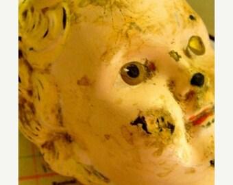 ONSALE Antique German Metal Tin Doll Head Beautiful Decay