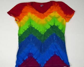 Rainbow Brite ~ Chevron Tie Dye T-Shirt  (Fruit of the Loom Heavy HD Ladies V-neck Size L) (One of a Kind)