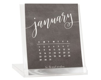 2017 Desk Calendar - BUY 2 GET 1 FREE - Calendar With Stand - Chalkboard Hand Lettering - Black Friday Cyber Monday Sale