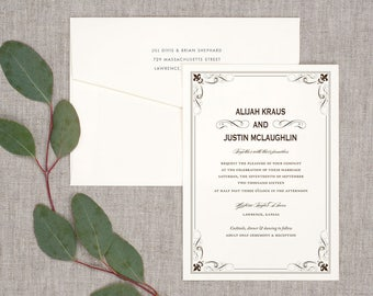 Simple Fleur Wedding Invitations - Classic Timeless Rustic Whimsical Vintage