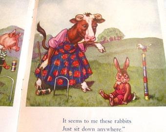 "THREE 1930's Funny Farm Friends Children's Books/ Farm Friends At Play/At The Fair/At School/""Linenette"" Trademark/Sam Gabriel Sons & Co."