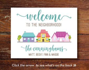 Welcome to the neighborhood cards (custom), New Neighbor, Welcome Tags, Personalized, Gift Tags, DIGITAL OR PRINTED