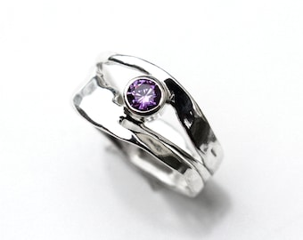 Amethyst Sterling Silver Ring, Silver Amethyst Ring, Organic Design Ring, Gift for her, February Birthstone Ring,  Silver Stackable Ring
