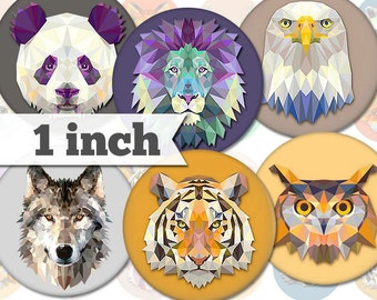 Animals - 13 Unique Images - 1 Inch Circles - Digital Collage Sheet - Jewelry Supply, Cabochon, Bottle Caps - INSTANT DOWNLOAD