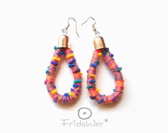 Multicolored Drop Earrings-ThousandTwist Carnival Peachy in cotton-Fiber earrings Pop boho Chandelier earrings,textile jewelry by FridaWer