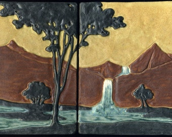 """Arts & Crafts style Landscape - Art Tiles with Waterfall, Trees, Stream and Mountains - 2 Tile Set - 7"""" x 9 3/4"""""""