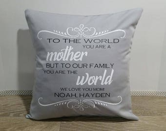 "SALE Mother's Day Pillow COVER - Throw Pillow - Livingroom Decor - 16"" x 16"" Cushon Cover - Decorative Pillow - Mother-Birthday-Gift"