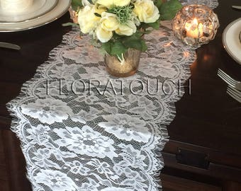 """White Lace Table Runner Wedding Table Runner 115""""x11"""""""