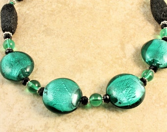SPRING SALE Teal Blue Lampwork Round Glass Beads and Black Wood Beaded Necklace with Black Toggle Clasp
