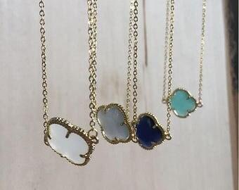 Gold quatrefoil necklace, gemstone quatrefoil necklace, gemstone necklace, boho jewelry