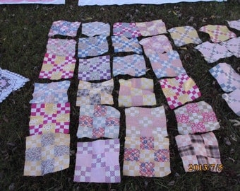Antique Depression 63 quilt block squares Feed sack fabric cotton fabric quilt blocks hand stitched