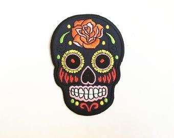 Skull Iron on patch/ Black Sugar Skull Iron on Patch/ Sugar Skull Applique