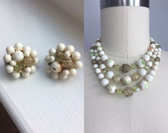 Vintage 1950s White Gold Glitter and Mint Green Lucite Beaded Multi Strand Choker Necklace with Clip On Earrings Set