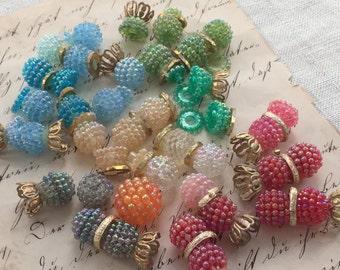 Vintage Jewel Toned Raspberry Beads