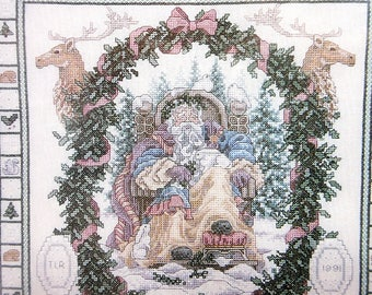 1992 Vintage Janlynn Christmas Cross Stitch / Father Winter / Folk Art Sampler / Beaded Stitchery / Reindeer / Mauve Pink White Seed Beads