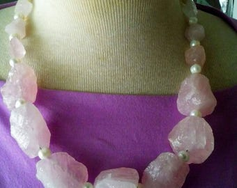 Raw Pink Quartz Freshwater Pearl Necklace