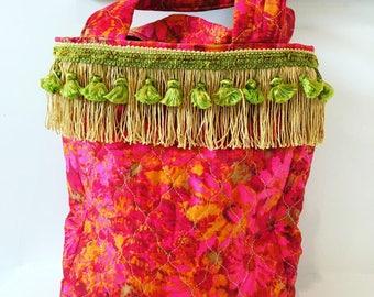 Quilted Cotton Handbag/ Vintage Cotton/ Purse/ 60's Fabric