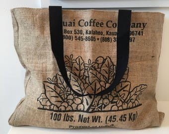 Kauai Coffee Company burlap Tote/ Beach Bag/ Market Bag