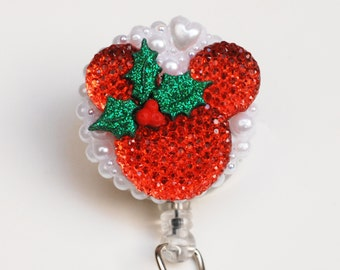 Mickey Mouse Christmas Time ID Badge Reel - Retractable ID Badge Holder - Zipperedheart