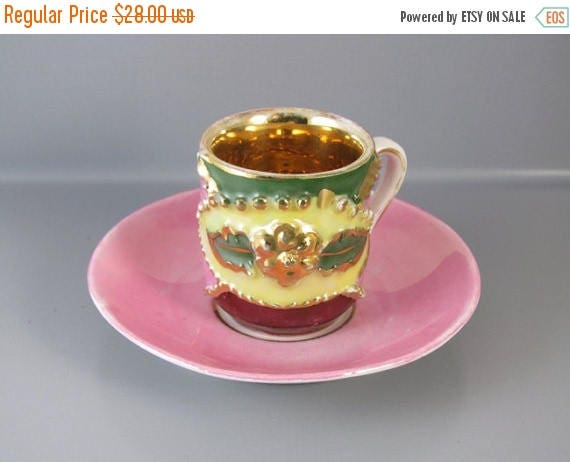 SPRING CLEANING SALE Vintage hand painted pink and gold made in Germany demitasse cup and saucer / porcelain / china / bone china / tea / co
