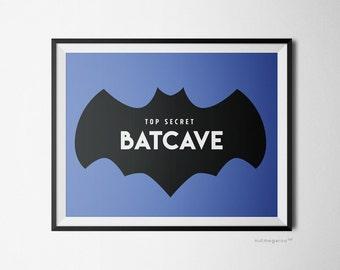 Top Secret Batcave art printable, batman birthday party decor, Batman boys room decor