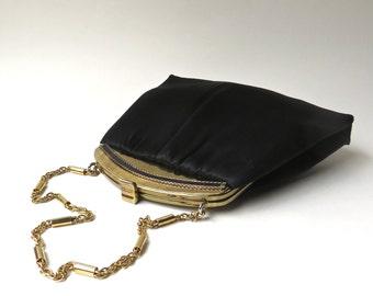 50s vintage Elegant Andé Black Satin Evening Bag with matching Coin Purse / 50s Black Satin Cocktail Bag