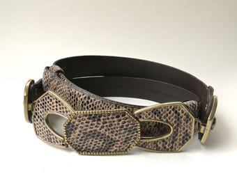 Chico's vintage Reptile Print Suede Finished Leather Belt with Ornate Gold Metal Trimmed Matching Leather Buckle