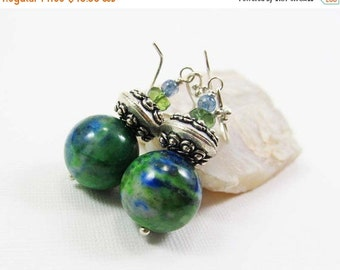 HOLIDAY SALE Azurite, Green Apatite, and Spectrolite Gemstone . Sterling Silver Dangle Drop Earrings . Vibrant Green, Bright Blue . E15028