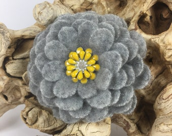 Gray Cashmere Flower Brooch Pin with Yellow Enameled Flower Center