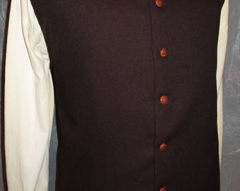 """Men's Brown  1600C Pirate  Rococo Regency Edwardian Gothic Victorian Style Vest Waist coat  40""""  (V61) FREE SHIPPING!!"""