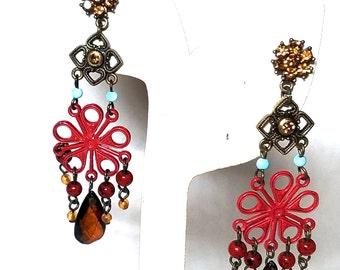 Fantastic Dangling Enamel and Rhinestone Pierced Earrings
