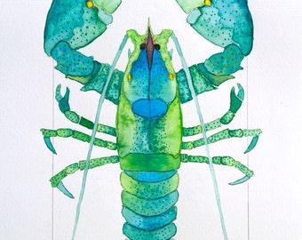 Colorful Blue and Green, Aqua Coastal Beach Green Lobster Watercolor by Clair Hartmann Original