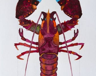 STUDIO SALE Colorful Red, Orange, Purple Coastal Beach Lobster Watercolor by Clair Hartmann Original