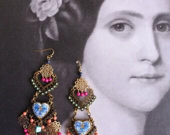 Chandelier Earrings Bohemian Boho Gypsy Portugal Antique Azulejo Tile Replicas, 17th Century Lisbon Gold Blue