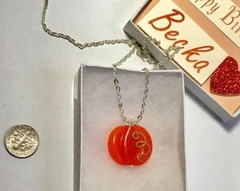 Pumpkin glass lampwork focal bead pendant with chain gift ooak