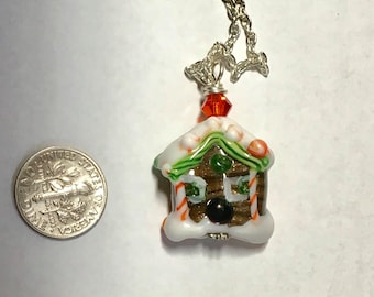 Gingerbread house glass lampwork focal bead pendant with chain gift ooak