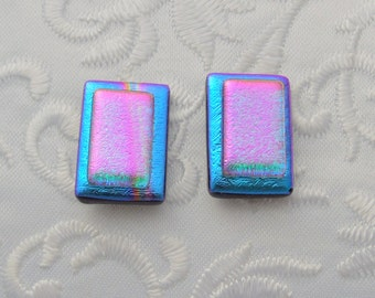 Blue And Pink Dichroic Fused Glass Earrings - Button Earrings - Dichroic Earrings - Stud Earrings - Post Earrings - Small Earrings 1583