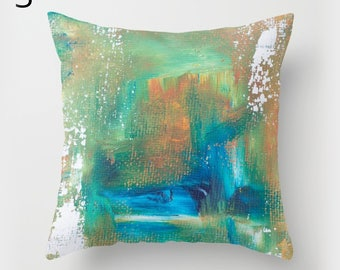 Teal pillow set, abstract painted pillows, artist style pillow, abstract art print cushion, brush strokes design pillow, arty sofa pillows