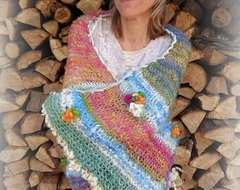 ON HOLD - hand knit blanket wool art yarn blanket - forest fantasy flower patchwork prayer blanket