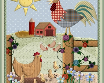 Note Cards, Blank, 10 Quilt Designs, Country Farm, Sheep, Chickens, Bees, Kitchen, Country, Variety of 10 cards, 2 of each or Mix and Match