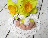 Polymer Clay  Baby with Bright Yellow Lacy Sunsuit, White Headband and Blanket